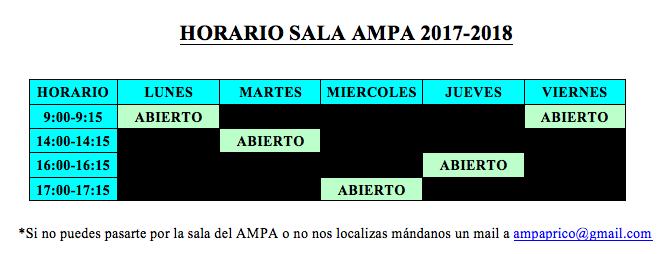 HORARIO AMPA 2017-2018