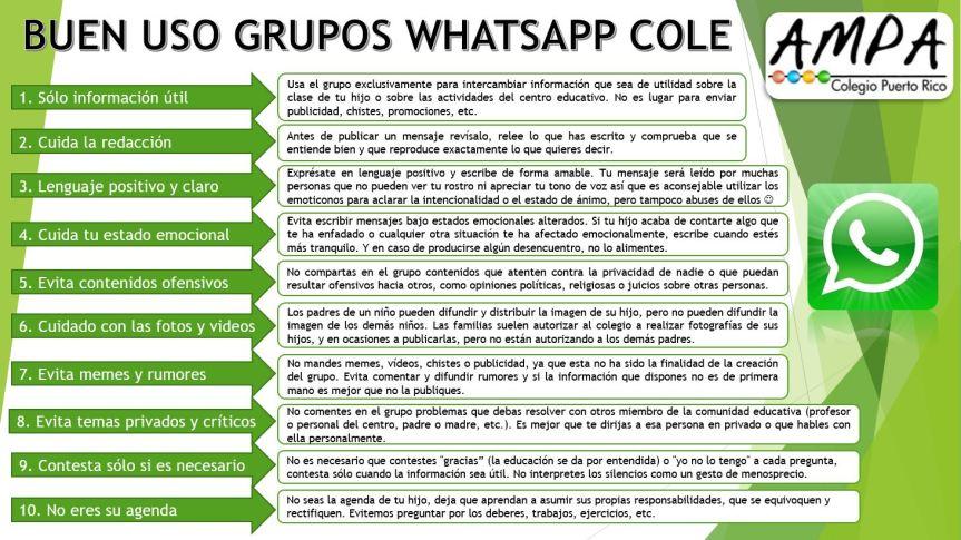 Buen uso grupos WhatsApp DEFINITIVO