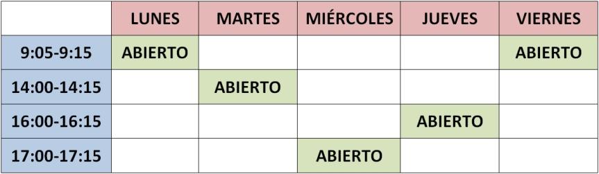 horario curso 2018-19