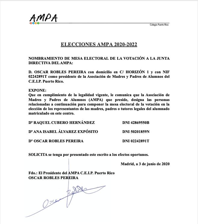 NOMBRAMIENTO DE MESA ELECTORAL-2020-2022